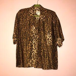 100% Silk button up Leopard print shirt